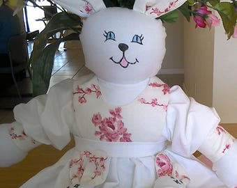 Bunnita Rose Heirloom Crochet Pillowcase Bunny Doll with Baby Bunnies