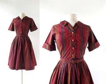 20% off sale Vintage 1960s Dress | Regency Stripe Dress | Shirtwaist Dress | XS