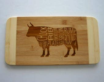 Beef Chart Diagram Engraved Cutting Board Cow Picture Butchers Chart