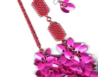 Raspberry Beret Cascading Petals Necklace
