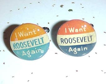 FDR Cuff Links Franklin Roosevelt Vintage Campaign Buttons - Free Shipping to USA