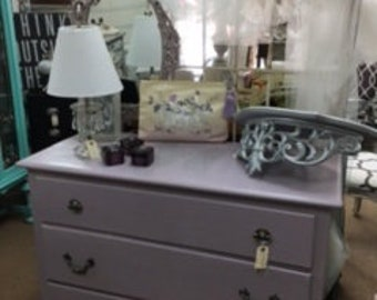Small Dresser in Lavandar with Silver Stenciled Top