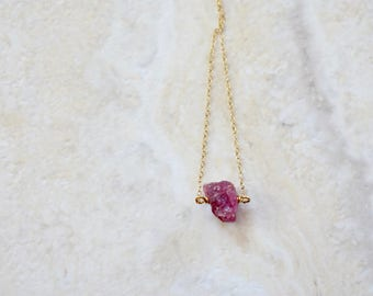 rough pink tourmaline pendant necklace. gold filled chain. raw pink unpolished tourmaline jewelry. pink tourmaline pendant necklace