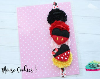 Planner band { Mouse Cookies } mickey minnie, red, black, yellow, valentine's day band planner girl accessories bible band, baby headband