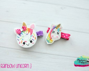 Planner Clip or Hair Clippie { Rainbow Unicorn } donut, glitter Paper Clips, Stationary, irish toddler hair bow Birthday
