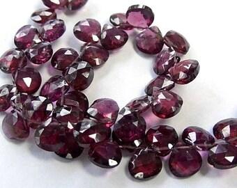 Rhodalite Garnet Gemstone Bead. Semi Precious Gemstone. Faceted Garnet Heart Briolette, 6mm. Pairs or NonMatching 1 to 9 Briolettes. (53gn2)
