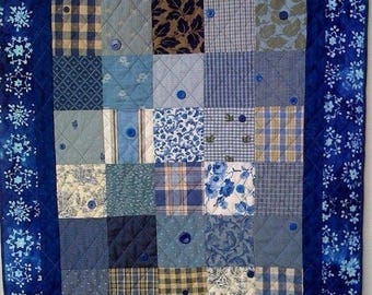 Festival Sale Winter Blues, 37 x 44 inch quilted wallhanging