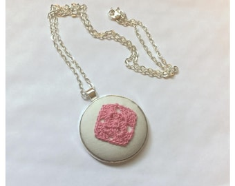 Pendant Necklace - Crocheted Granny Square with 24 inch chain