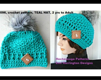CROCHET HAT PATTERN- Teal Hat, Children, Teens, Women, Adults, #2096, Accessories for women, crochet for kids, gift for her, girls