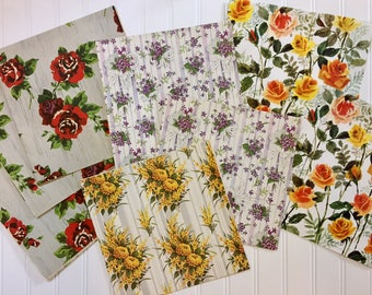 7 Vintage Floral Wrapping Papers, Vintage Floral Gift-wrap, Floral Wrapping Paper, 1940s-1960s
