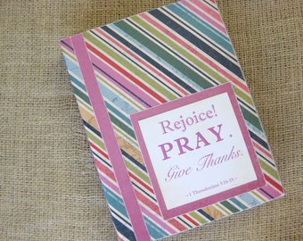 Legacy Prayer Journal, Bound Book, Pink, Blues, and Greens Diagonal Stripes with Pink Accents