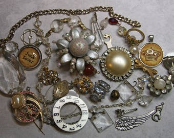 Vintage Assemblage Lot- COSTUME JEWELRY Findings- Crystals- Charms Watch Part- Bracelet- Found Object Lot- A44