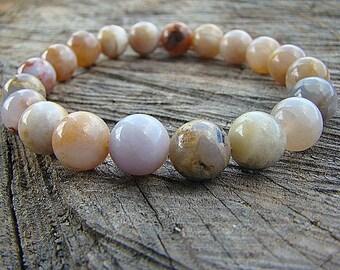 Agate Bracelet, Gemstone Bracelet, Womens Beaded Bracelet, Stacking Bracelet, Stretch Bracelet, Stone Bracelet, Bead Bracelet, Boho Style