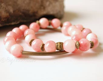 Pink Bracelet, Pink Bracelet Set, Pink Stone Bracelet, Pink Stretch Bracelet, Stone Stretch Bracelet, Boho Jewelry, Gifts for Her