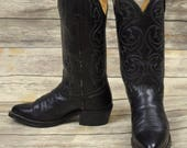 Cowboy Boots Black Leather Mens Size 8 D Country Western Rockabilly Vintage