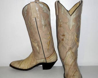 Women Boots Size 8 A Cowboy Shoes Narrow Dan Post Exotic Eel Leather Boho Western