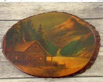 Log Cabin Mountain Scene Vintage Wood Slice Decoupage Country Rustic Home Decor
