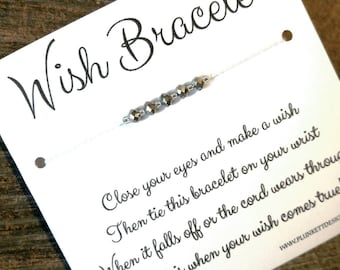 Wish Bracelet - Available In Over 100 Different Colors!!!  (Grey Mirror Polished Crystals)