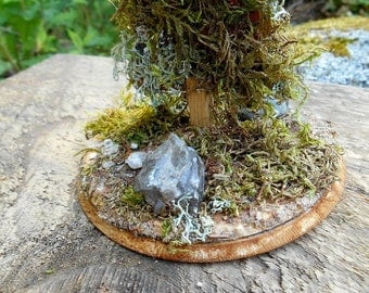 Wood Fairy Garden Tree, Wooden Tree with Moss and Lichen, Natural wood, miniature fairy house accessories, miniature tree