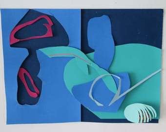 modernistic collage, paper collage, mixed media collage, original design, similar to Matisse paper cut, lyrical shapes, blue, red ,green
