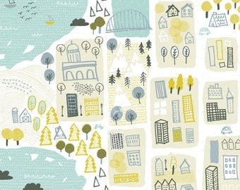 Illustrated Maps Fabric - Happy Town By Friztin - City Town Village Lake Whimsical Green Blue Cotton Fabric By The Yard With Spoonflower