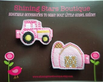 Felt Hair Clips - Light Pink Embroidered Felt Farm Tractor And Barn Boutique Hair Clippie Set For Girls