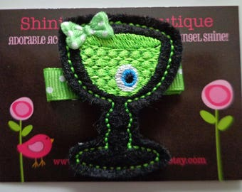 Girls Hair Accessories - Felt Hair Clip - Black And Lime Green Embroidered Felt Halloween Drink With An Eyeball Holiday Hair Clippie