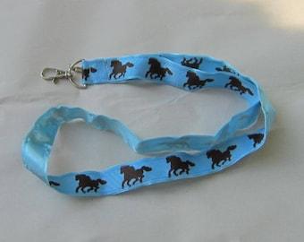 Handmade Grosgrain & Satin Ribbon HORSE GALLOPING Lanyard/Keychain/Badge Holder w/Metal Charm