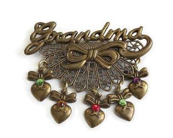 Grandma Filigree Dangle Hearts Brooch Vintage with Bow and Rhinestones