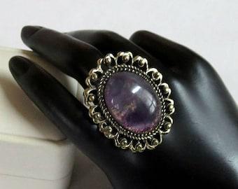 SALE Purple Swirl Lucite Ring Size 6.5 Adjustable Vintage