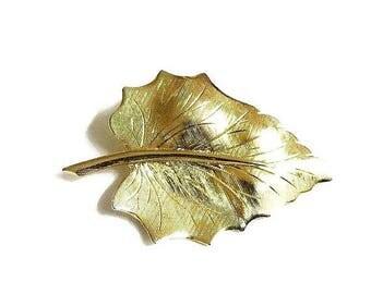SALE Etched Gold Tone Leaf Brooch Vintage
