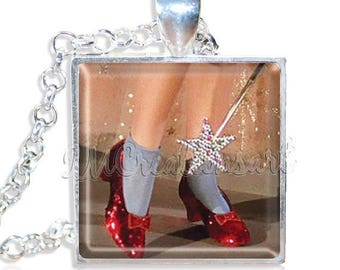 "20% OFF - Wizard of Oz Ruby Red Slippers Shoes Dorothy 1"" Square Glass Pendant or with Necklace - SQ130"