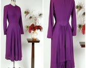 Vintage 1940s Dress - Elegant True Violet Rayon Crepe 40s Cocktail Dress with High Neck and Dramatic Pleated Bustle