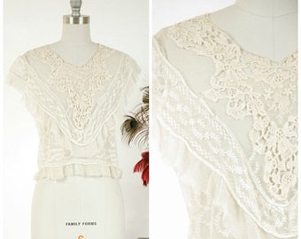 Memorial Weekend Sale - Antique Edwardian Blouse - Intricate Ivory Silk Net Embroidered Lace Blouse Altered c. 1930s