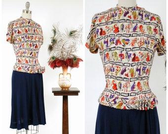 Vintage 1940s Dress - Rare Bold Silk Animal Novelty Print 40s Dress with Contrast Silk and Side Drape