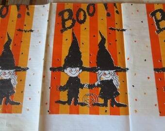 Vintage 70s Paper Tablecloth / BOO / Halloween Crepe Tablecloth / retro halloween tablecloth / Midcentury witch and pumpkin / 54 x 96""