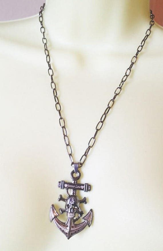 unisex black SKULL ANCHOR NECKLACE skeleton punk goth day of the dead forever love jewelry