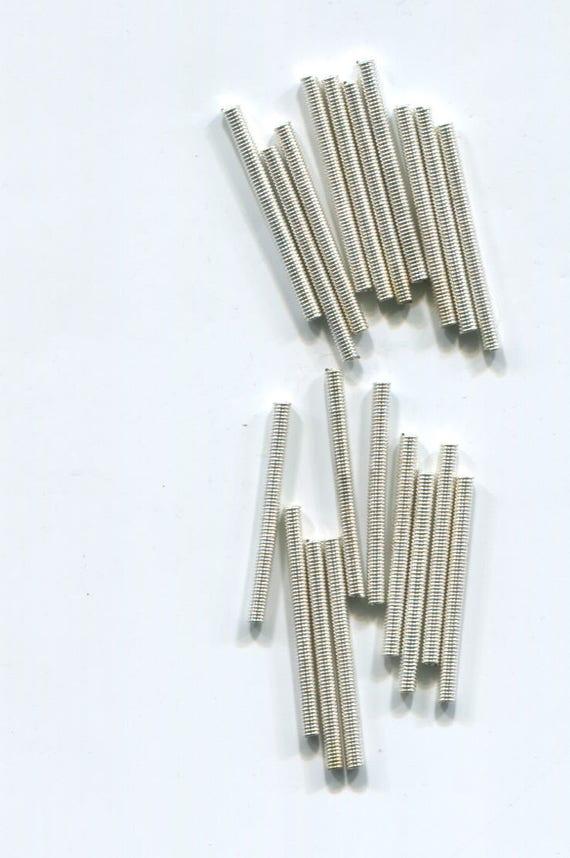 12 metal spring tube bugle beads LOT silver metal beads 35mm x 1mm