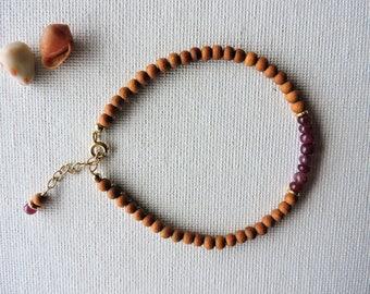 Sandalwood & ruby gemstone bracelet - summer stacking bracelet - layering bracelet - ruby bracelet