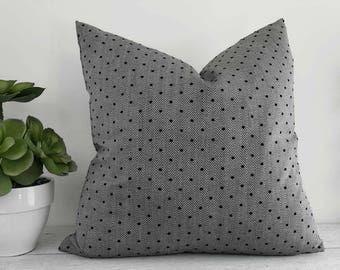 Mens Black Accent Pillow, Textured Herringbone Pillow, Black Grey Pillow, Small Black Dots Pillow, Masculine Decorative Pillows, 18x18, NEW