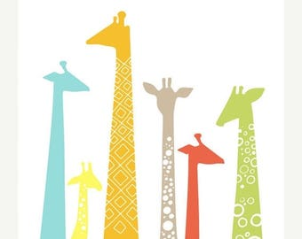 "SUMMER SALE 16X20"" giraffe silhouettes giclée print on fine art paper. rainbow and tan."