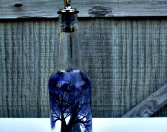Dish Soap Dispenser,  Recycled Clear Beer Bottle, Painted Glass, Oil and Vinegar Bottle, Trees with Purple Leaves, Soap Bottle, Glass Art