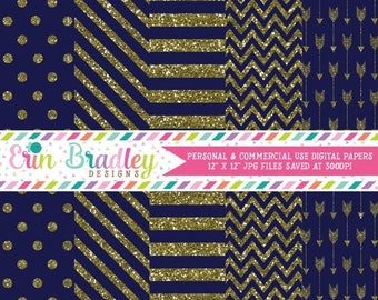 80% OFF SALE Digital Paper Pack Gold Glitter and Blue Commercial Use Digital Scrapbook Papers Polka Dots Stripes Chevron and Arrows