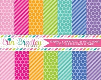 80% OFF SALE Summer Fun Digital Scrapbook Paper Pack Digital Paper Set Pink Orange Green Blue Purple Polka Dots & Stripes