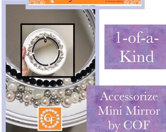 Full Circle Black and White Mini Mirror Acccessorize by Crystals On Fire