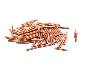 Copper Tube Beads - 50 Raw Copper Tube Beads (2x15mm) A0664