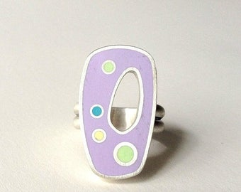 lilac ring, polka dot ring, sterling silver, whimsical, cocktail ring, bubble ring, purple ring, size 7.5 ring, resin ring, artisan jewelry