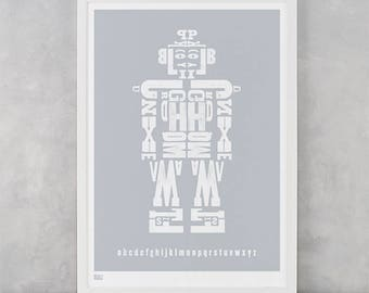 Robot Alphabet Print, Alphabet Print, Robot Print, Children's Prints, Kids Wall Art, Robot Art, Nursery Wall Decor, Letter Print, Kids Art
