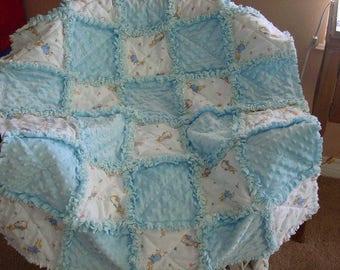 Peter Rabbit Beatrix Potter baby  rag quilt in pink or blue