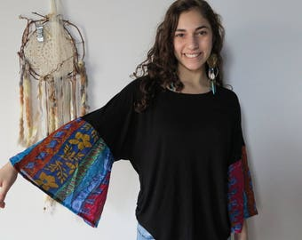 Bell Sleeve Stretchy Black Top Shirt Tee Size Small/Medium Hippie Boho Shirt Upcycled Clothing Womens